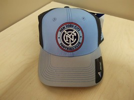 New Adidas New York City Fc Soccer Hat Fitted Blue Small/Medium S/M M968Z - $9.50