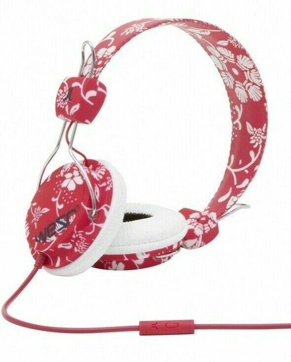 WESC Conga Headphones HawaiiWe Jester Red Flowers w Microphone New in Box
