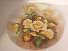 "VINTAGE HAND PAINTED PLATE YELLOW ROSES-SIGNED M HASHIMURA 8.5"" - $17.77"