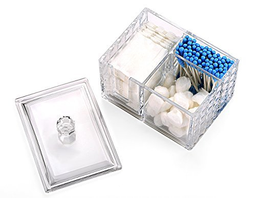 Ouyatong Upgraded Clear Acrylic Makeup Cotton Pads Organizer,Cotton Ball and Cot