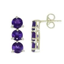 Three Amethyst Gemstone 925 Sterling Silver Stud Earring SHER0259 - $15.06