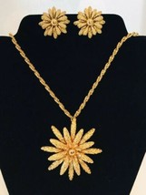 Monet Gold Tone Vintage Necklace with Large Flower Pendant and Clip On Earrings - $24.70