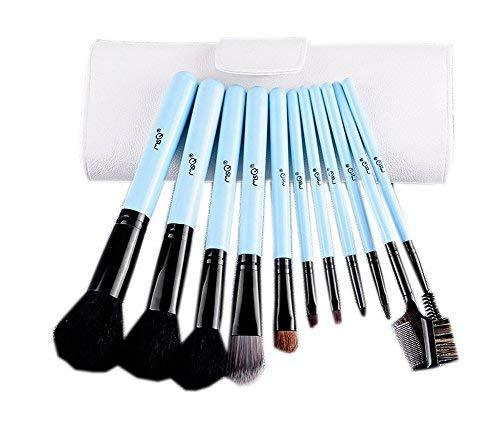 Cute Sky Blue Cosmetic Brushes Kit with White PU Bag 11 PCS
