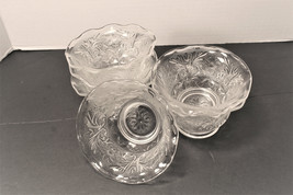 Anchor Hocking Glass Custard Cup Sandwich Crimped Ruffle Top Crystal Clear Sauce - $24.00