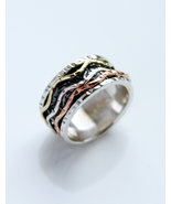 Fidget ring women, spinner silver ring, thumb ring of silver and brass, ... - $62.90