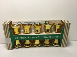 Vintage Christmas Bradford Shatterproof Set Gold Plastic Bells in Origin... - $18.00