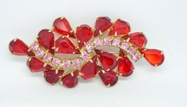 JULIANA D&E Gold Tone Red Pink Glass Flower Pin Brooch Vintage - $89.09