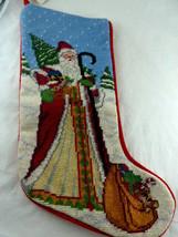 Wool yarn & RED velvet Needlepoint Christmas Stocking Olde World Santa H... - $24.74