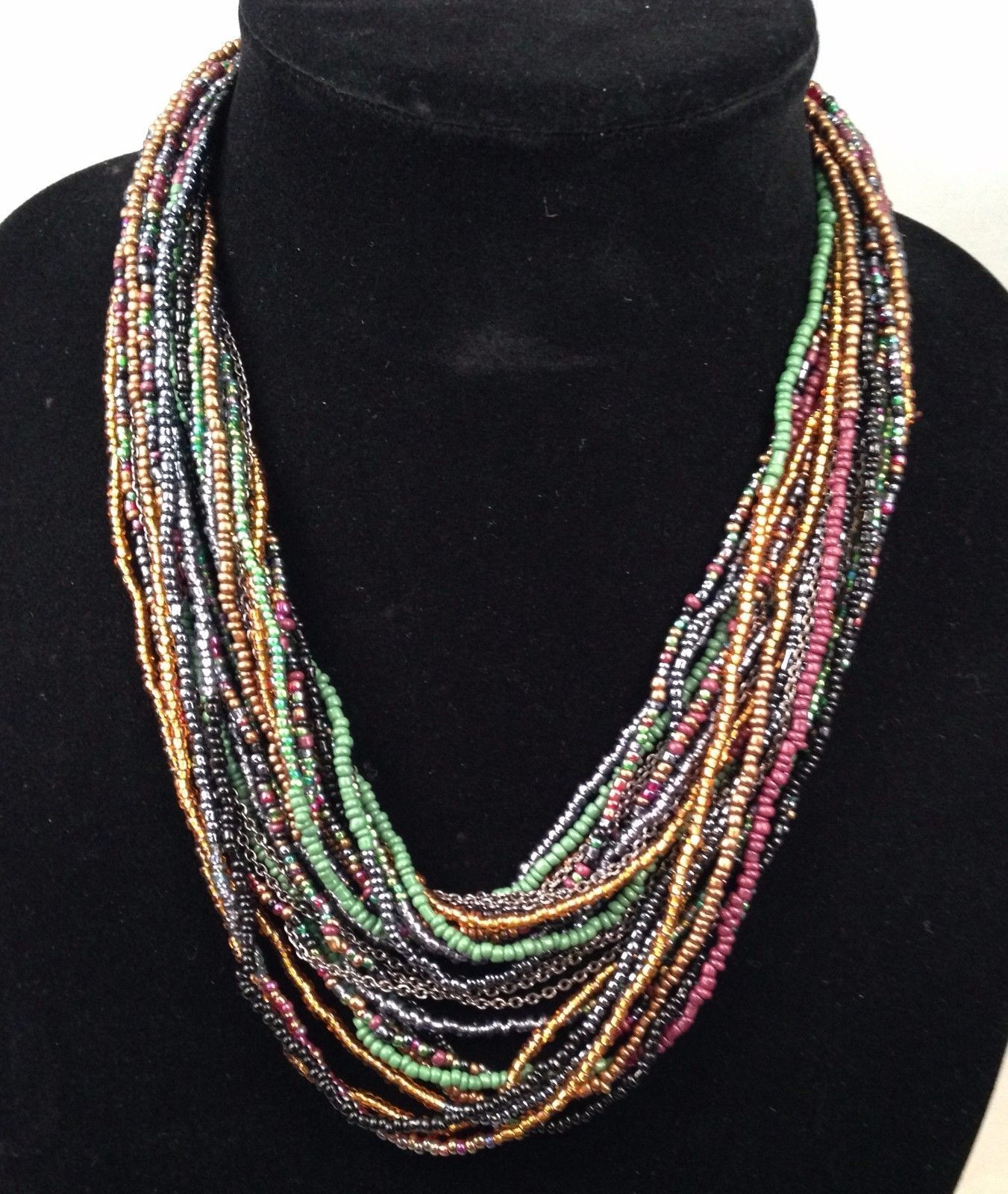 New Cookie Lee Multi Colored Glass Tiny Bead Strands Necklace Gold Turquoise