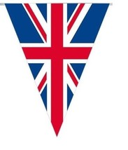British Union Jack Great Britain Bunting Flag Banner Decoration 11 Flags... - $3.51