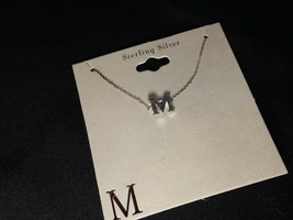 Personalized M Sterling Silver Necklace 18 in - $12.09