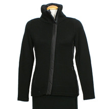 EILEEN FISHER Black Merino Wool Knit Parka Trim High Collar Zip Jacket XS - $169.99