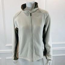 The North Face M Fleece Jacket Full Zip Cream Color Block Pockets Logo F... - $29.69
