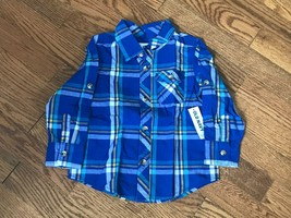 Toddler Boys Old Navy Blue Plaid Long Sleeve Shirt w/ Roll Tab Sleeves S... - $7.69