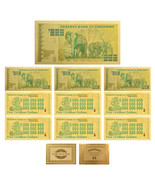 WR 10pcs Zimbabwe 5 Octillion Dollars Color Gold Banknote Money Collecti... - $14.99