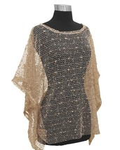 Beige Nubby Open Weave Sequin Slipover Poncho Top - Also in Teal, Ivory ... - $22.90