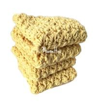 Handmade Kitchen Dish Cloths Yellow Crochet Cotton Dishcloths Washcloth ... - $22.50