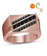 Diamond Pinky Ring Mens Rose Gold Finish 925 Sterling Silver Pave Square Design - $79.99