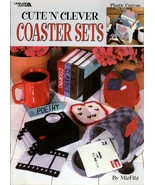 "Cute ""N"" Clever Coaster Sets in Plastic Canvas Leisure Arts 1863 NEW - $6.95"