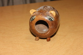 Wooden Noseless Pig Piggy Bank Painted Vintage Figurine - $10.53