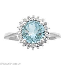 AQUAMARINE & DIAMOND HALO ENGAGEMENT RING BRILLIANT ROUND 8mm 14KT WHITE... - £1,039.78 GBP