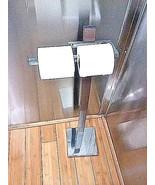Chromed and brown metal bathroom tissue paper holder utility Rack -Decor... - $30.99