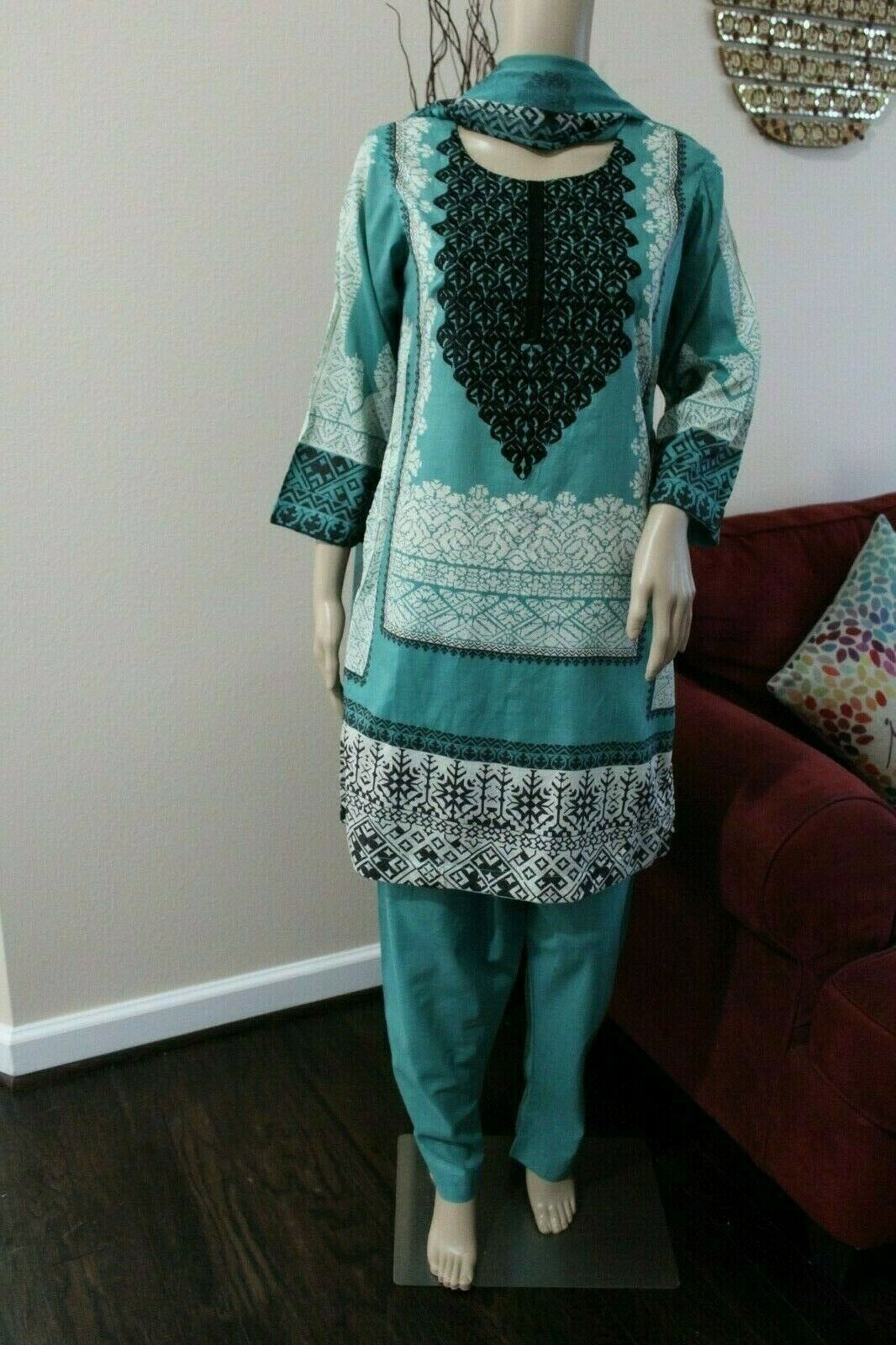 Primary image for Pakistani Printed Sea Green 3PCs Lawn Suit with  thread work, size options