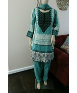 Pakistani Printed Sea Green 3PCs Lawn Suit with  thread work, size options - $50.00