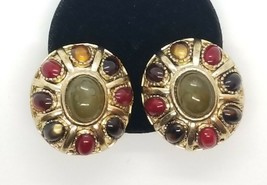 Vintage Oval Multi-Color Stone Cabochon Gold Tone Clip On Earrings Green Blue... - $26.00