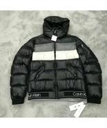 Calvin Klein Men's X-Fit Hooded Down Puffer Jacket Black White Grey Men ... - $149.99