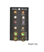 BAHYHAQ - 6 set Vintage Stud Earrings Colorful Rhinestone Round Earrings - $4.32