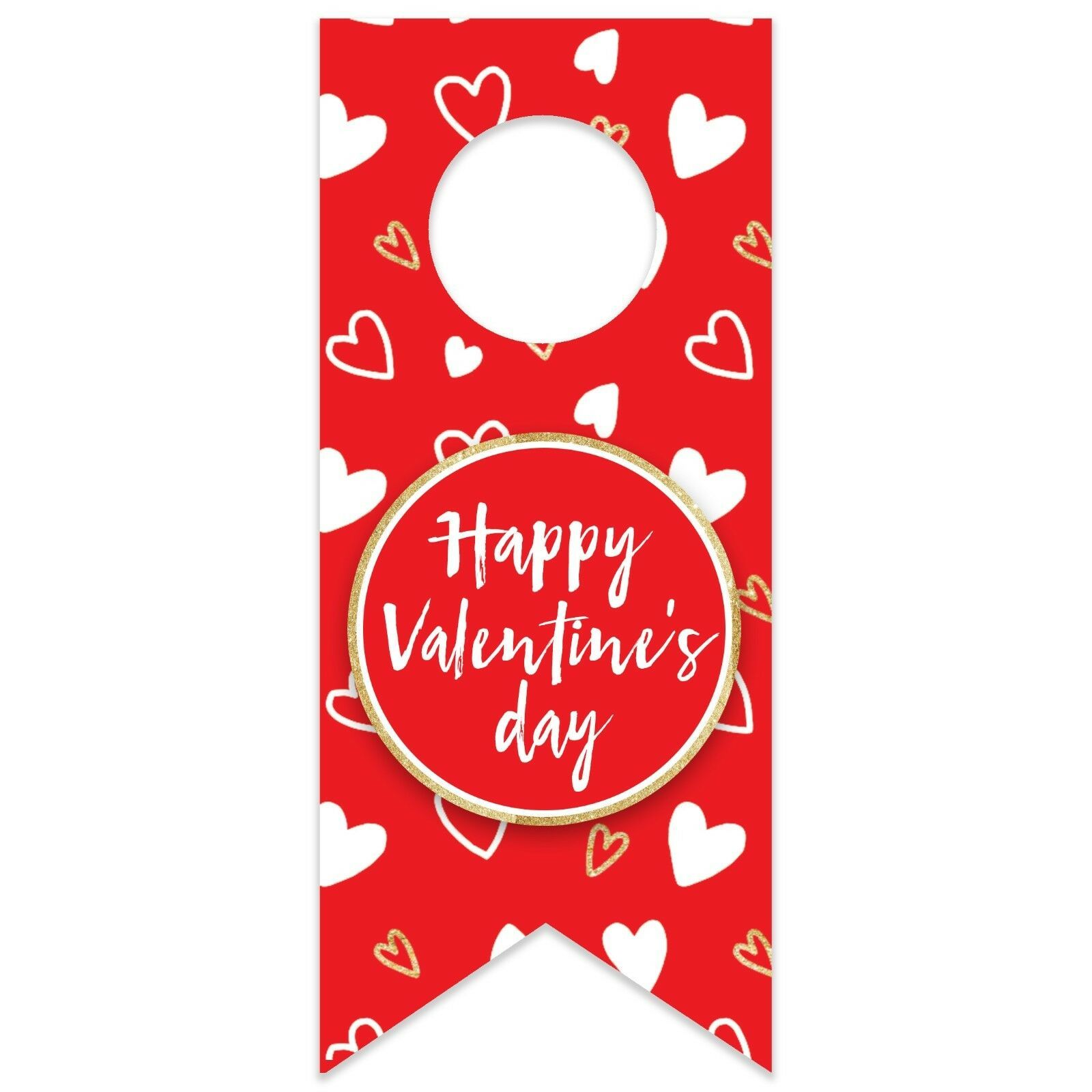 Valentine's Day Doodle Hearts Water Bottle Hang Tag