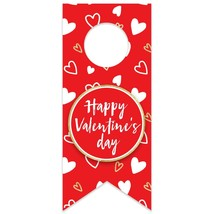 Valentine's Day Doodle Hearts Water Bottle Hang Tag - $26.24