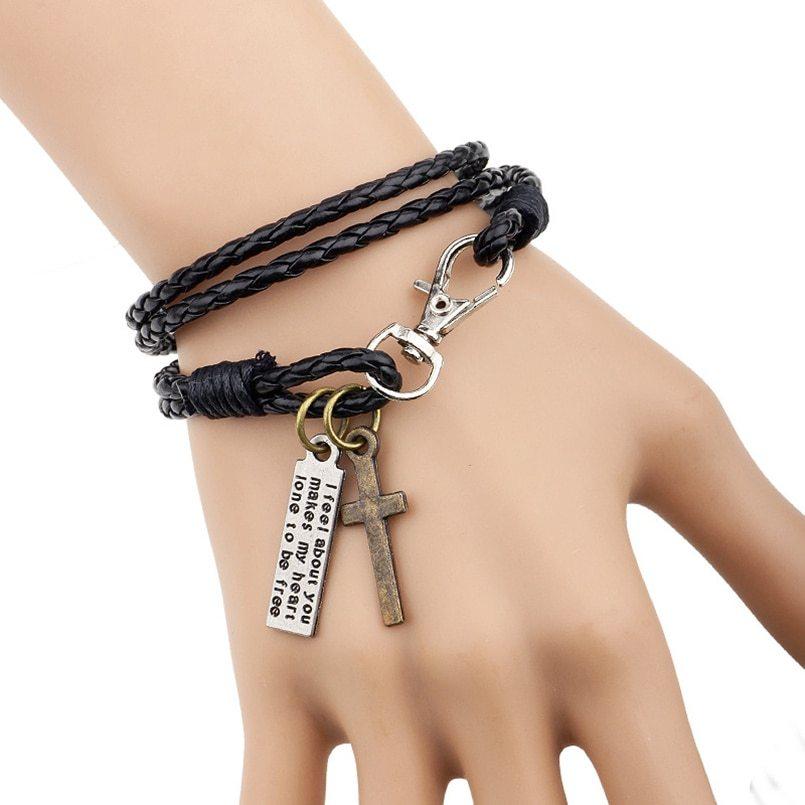 Bracelet jewelry man cross bracelet wristband charm braclet for male accessories hand cuff yw610