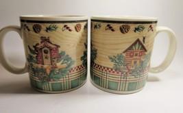 Sakura Winter Birds Debbie Mumm Set of 2 Coffee Mugs Stoneware Retired Pattern - $14.01