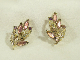 CORO Leaves AMETHYST Rhinestone Marquise Cut Clip Earrings Vintage Gold ... - $14.84