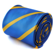 Frederick Thomas royal blue and yellow gold stripe tie FT824