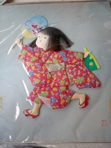 Japanese Fabric Art. Girl with Fan. - $30.00