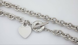 Tiffany & Co. Sterling Silver Blank Heart Necklace w/ Toggle Clasp Ret - $318.82