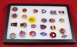 24 piece U.S. Army Unit Badge Collection Glass Case Included - $14.99