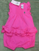 Ralph Lauren Baby Girls Romper Size 9 Months Maui Pink with Green Pony Logo NWT - $18.99