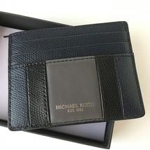 Mens Michael Kors Leather Card Case Navy Black Grey Warren Tall Card Case - £21.08 GBP