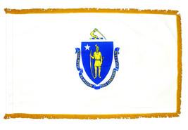 Massachusetts - 3'X5' Nylon Flag with Pole Hem and Gold Fringe - $74.40