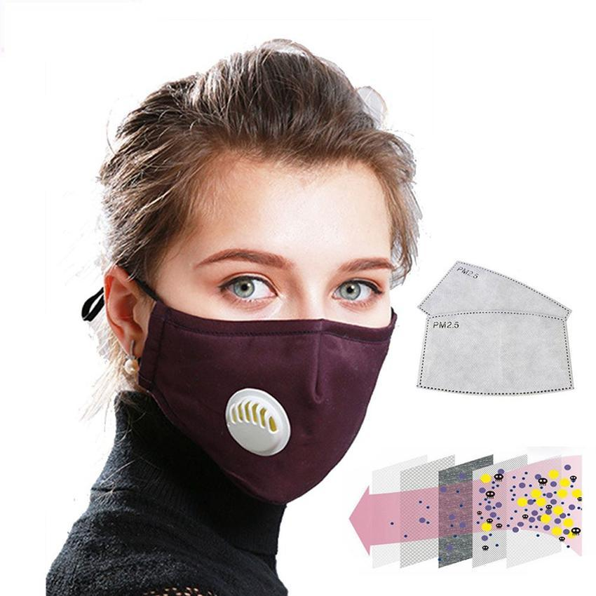 Washable Face Mask Anti-Dust Flu Reusable Respirator Masks with 2 carbon filter
