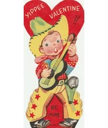 Vintage Valentine Card Singing Cowboy with Guitar Die Cut for Child - $6.92
