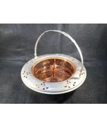 Vintage Pink Depression Glass 3 Pt  Divided Relish Dish Handled Metal Ho... - $58.41
