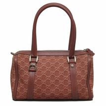 GUCCI Pink GG Canvas Boston Bag Leather Trim To... - $467.49