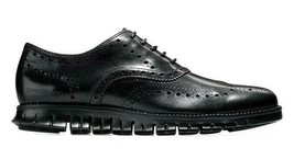 COLE HAAN ZEROGRAND WINGTIP OXFORD LEATHER BLACK SIZE 9.5 WIDE NEW W/BOX... - $139.55