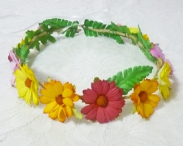 Daisy flower crown colorful flower leaves Festival crown Flower mulberry... - $11.00