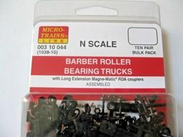 Micro-Trains Stock #00310044  (1038-10) Roller Bearing Trucks Long Couplers image 2